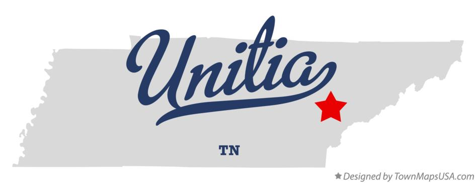 Map of Unitia Tennessee TN
