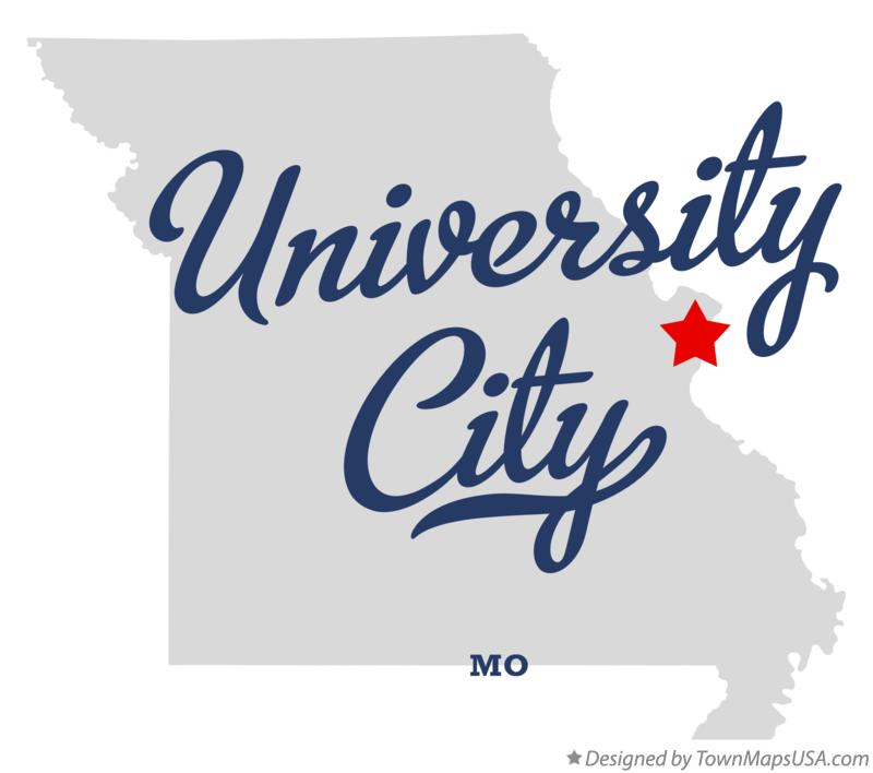 Map of University City Missouri MO