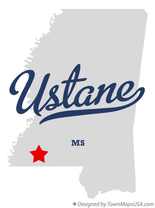 Map of Ustane Mississippi MS