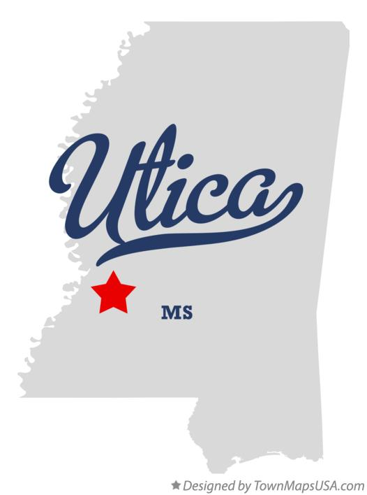 Map of Utica Mississippi MS