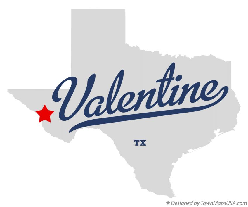Map of Valentine Texas TX