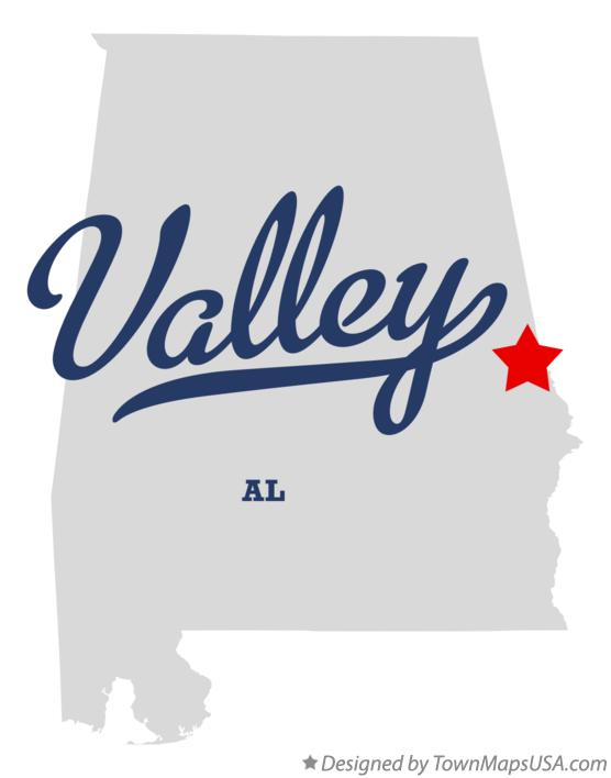 Map of Valley Alabama AL