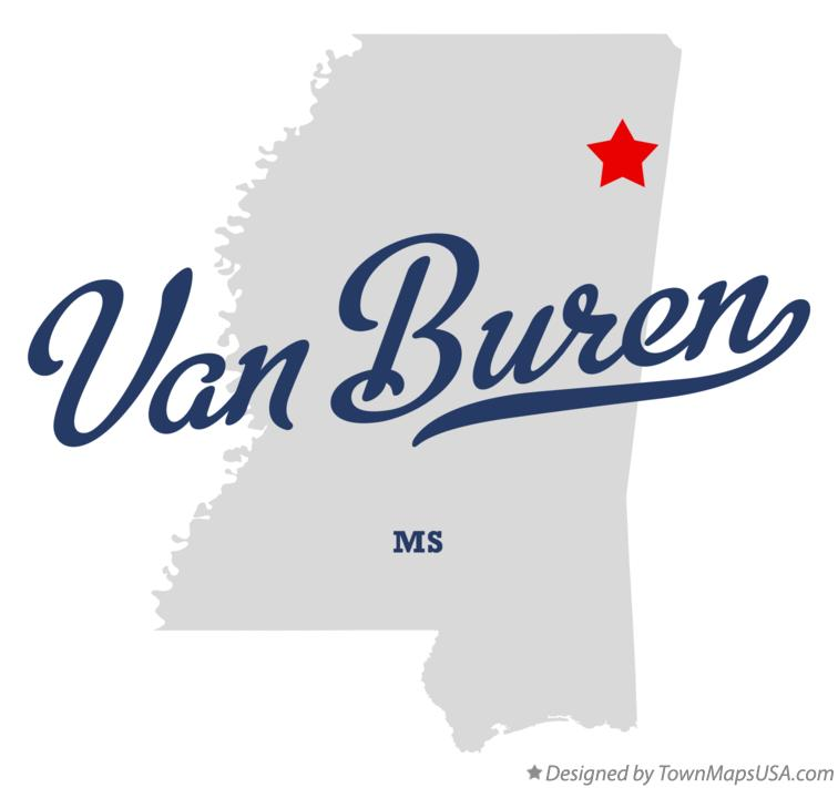 Map of Van Buren Mississippi MS