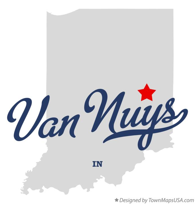 Map of Van Nuys Indiana IN