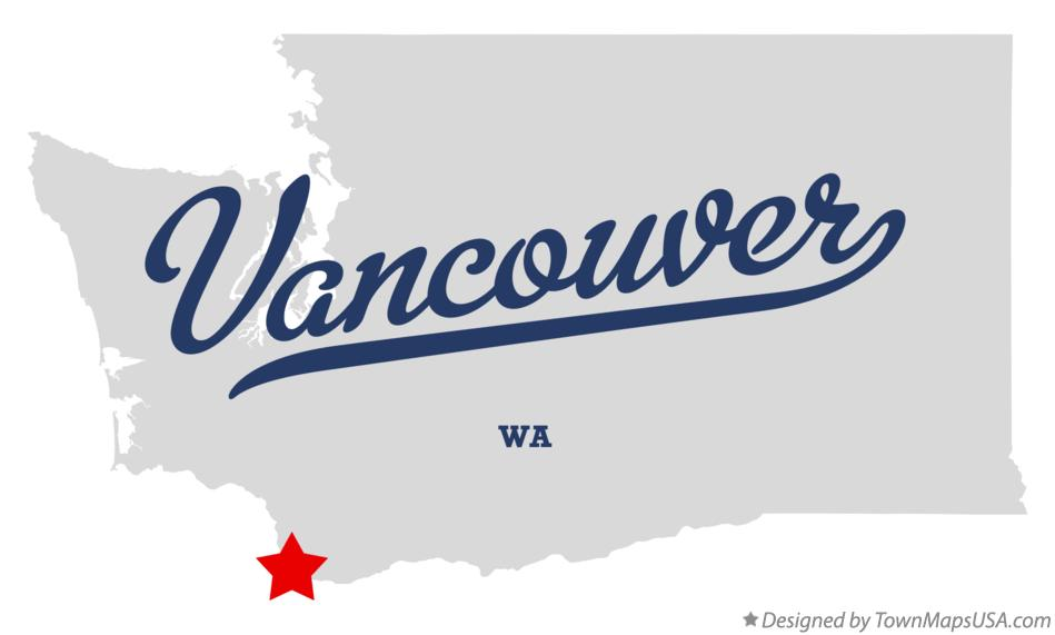 Map of Vancouver Washington WA