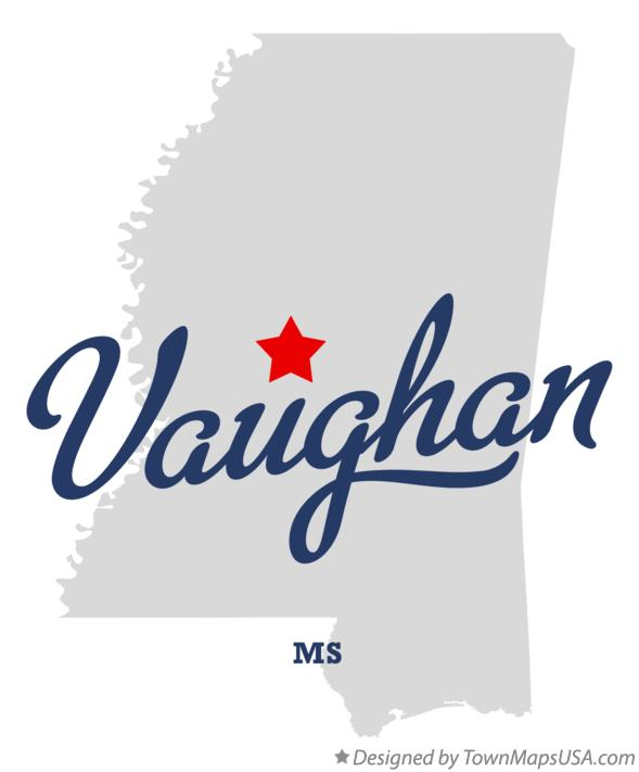 Map of Vaughan Mississippi MS