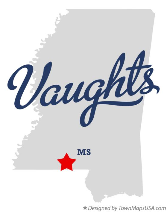 Map of Vaughts Mississippi MS