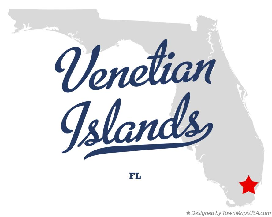 Map of Venetian Islands Florida FL