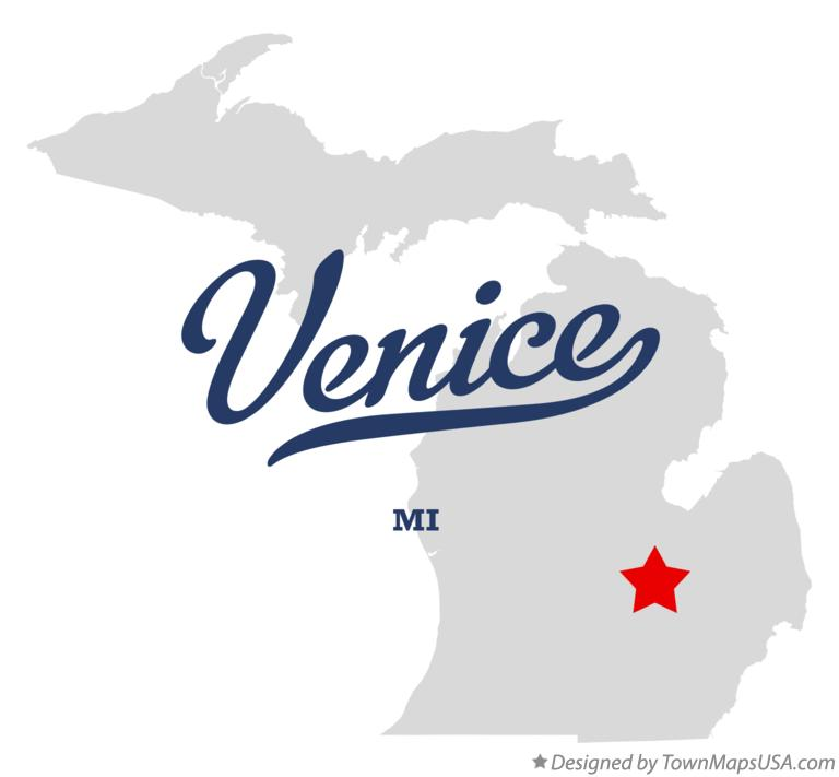 Map of Venice Michigan MI