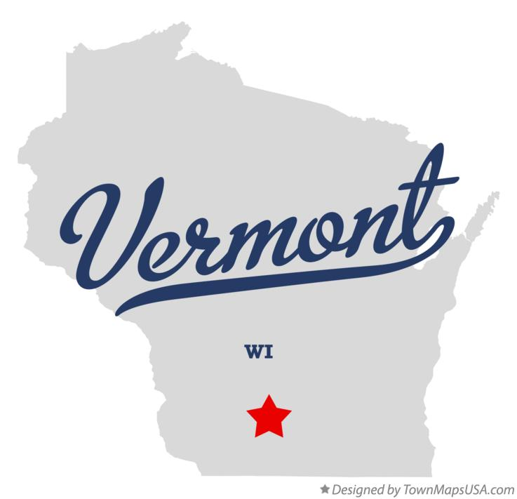Map of Vermont Wisconsin WI