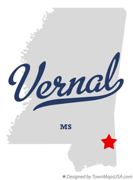 Map of Vernal Mississippi MS