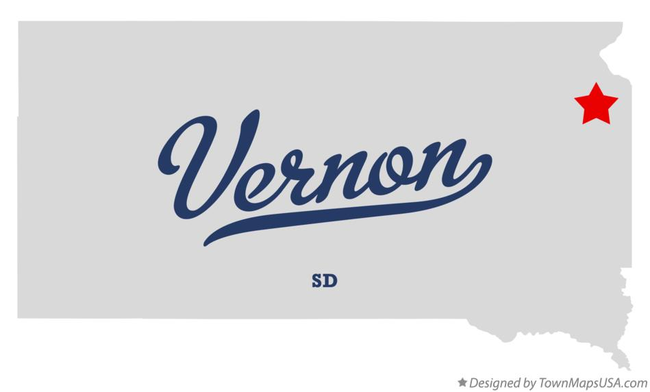 Map of Vernon South Dakota SD