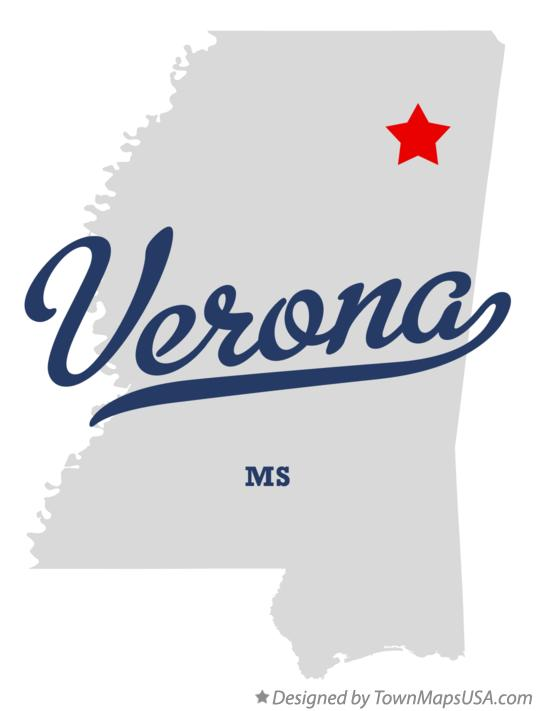 Map of Verona Mississippi MS