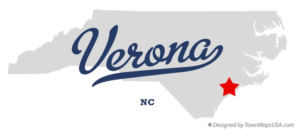 Map of Verona North Carolina NC