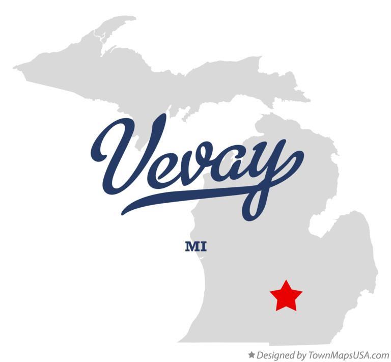 Map of Vevay Michigan MI