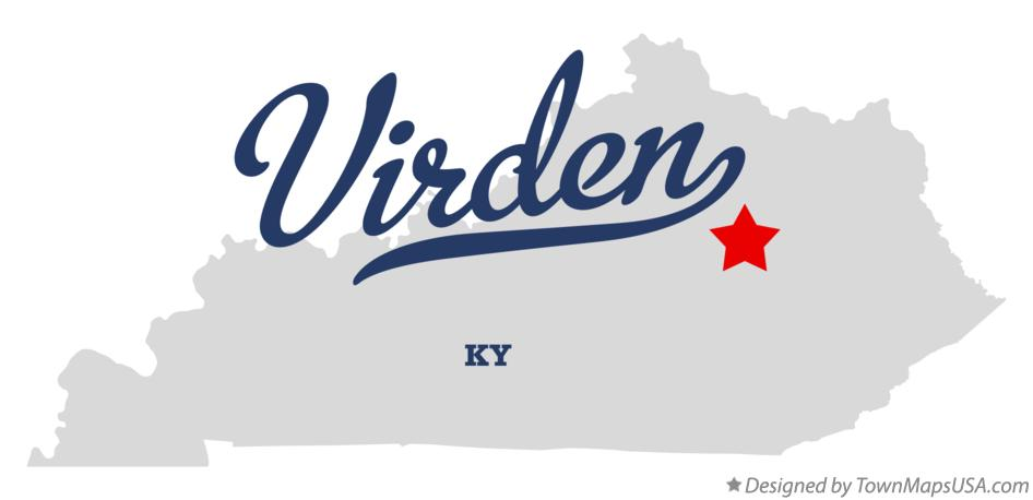 Map of Virden Kentucky KY