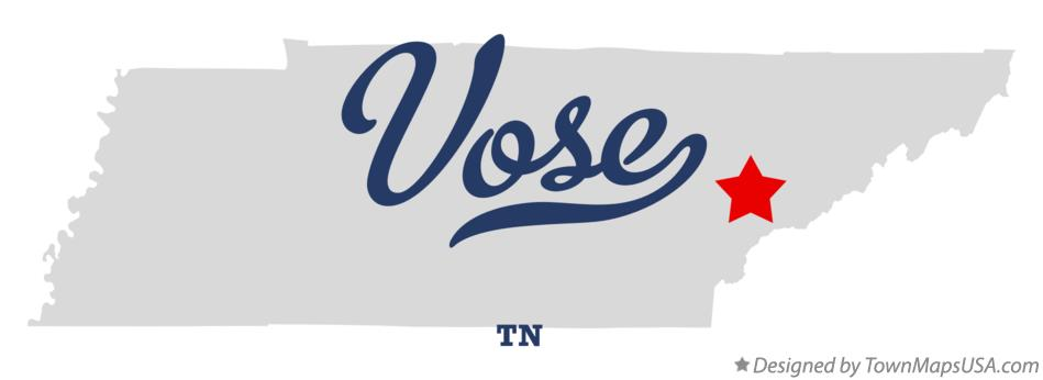 Map of Vose Tennessee TN