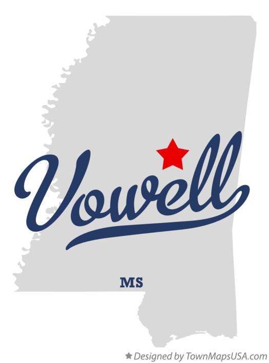 Map of Vowell Mississippi MS