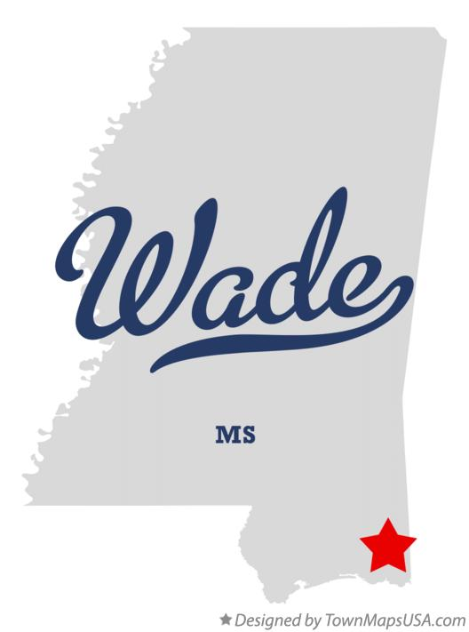 Map of Wade Mississippi MS