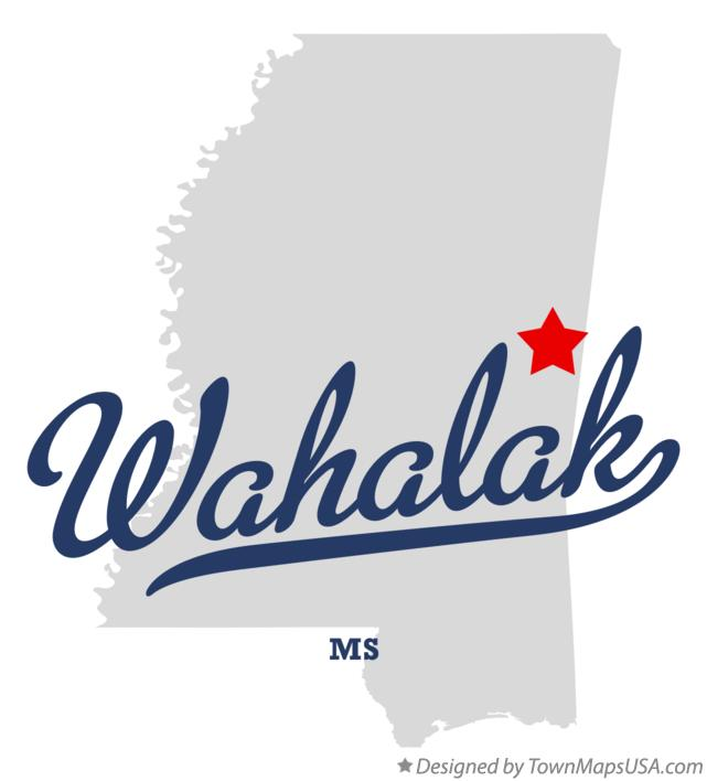 Map of Wahalak Mississippi MS
