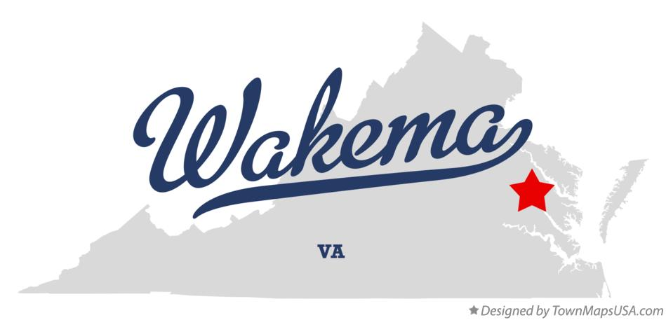 Map of Wakema Virginia VA