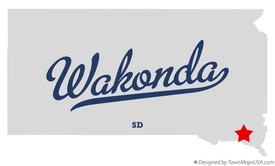 Map of Wakonda South Dakota SD