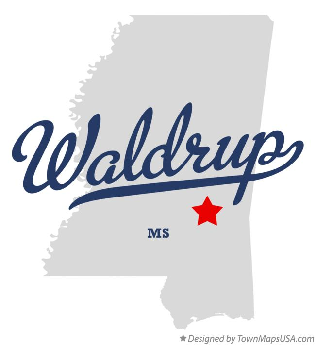 Map of Waldrup Mississippi MS