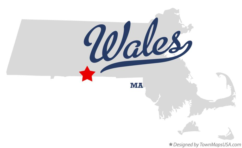 Map of Wales Massachusetts MA