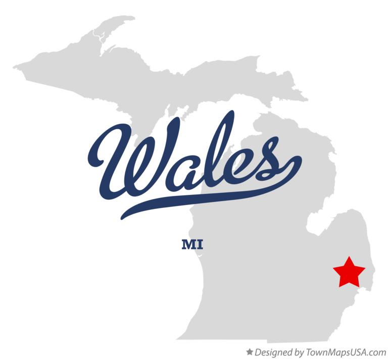 Map of Wales Michigan MI