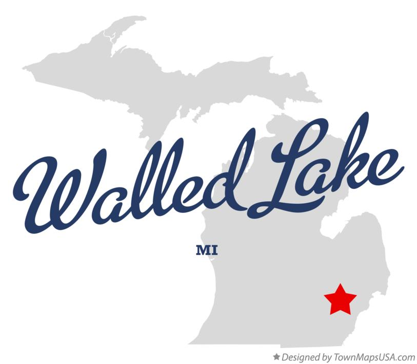 Map of Walled Lake Michigan MI