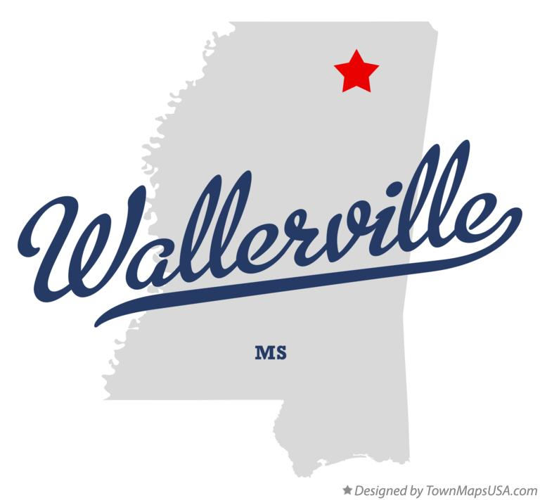 Map of Wallerville Mississippi MS