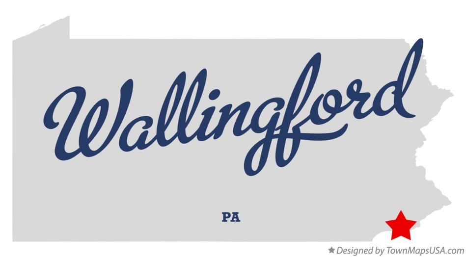 Map of Wallingford Pennsylvania PA