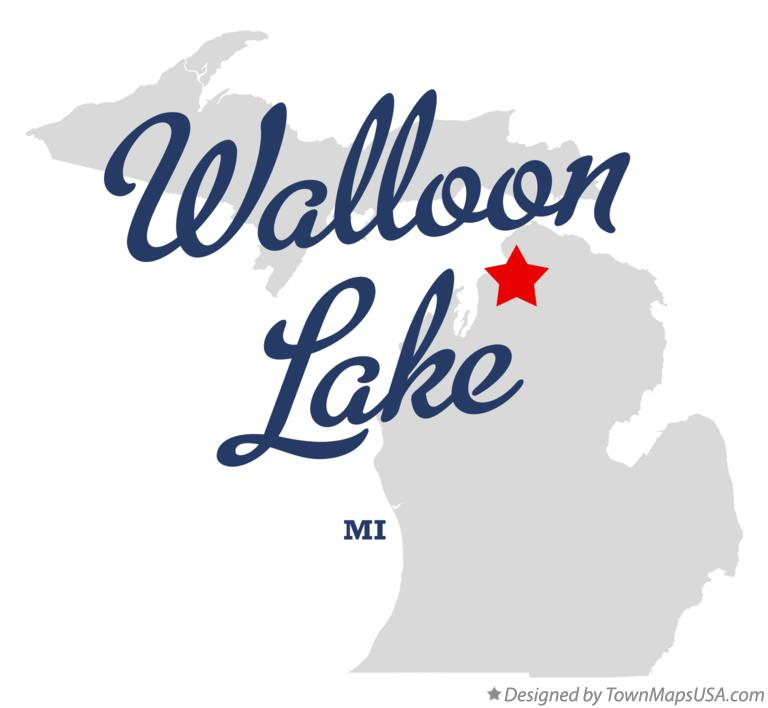 Map of Walloon Lake Michigan MI