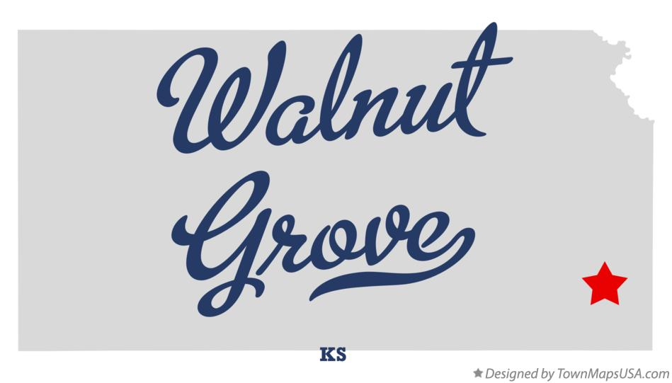 Map of Walnut Grove Kansas KS