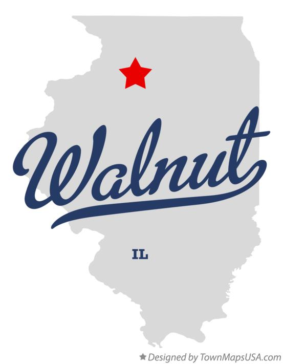 Map of Walnut Illinois IL
