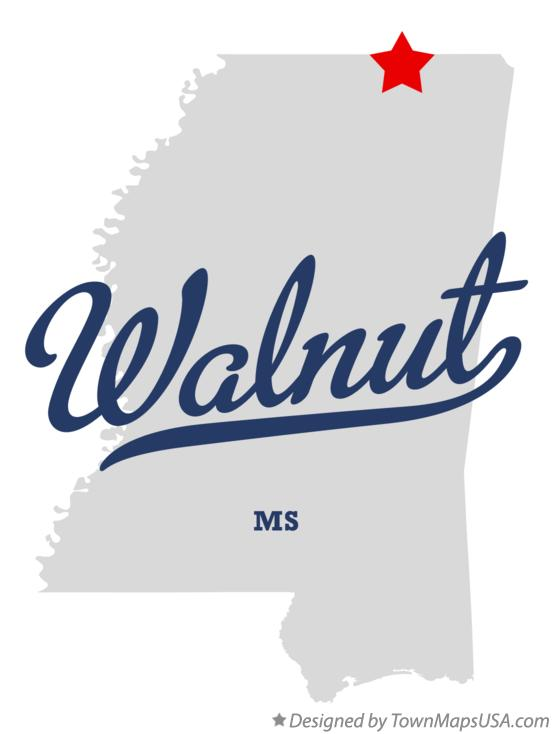 Map of Walnut Mississippi MS