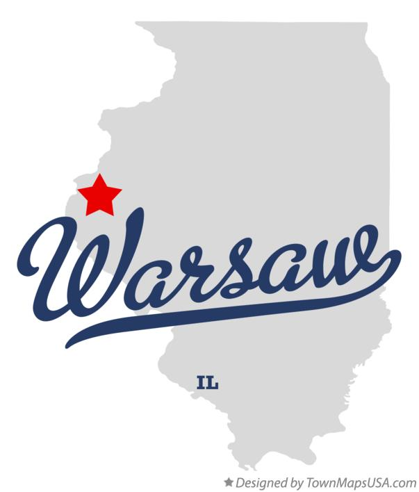 Map of Warsaw Illinois IL