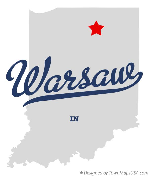 Map of Warsaw Indiana IN