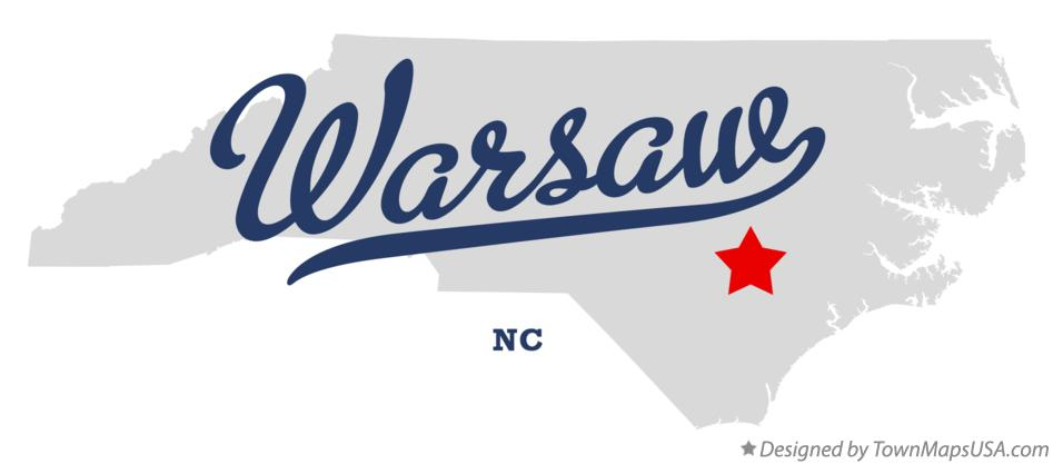 Map of Warsaw North Carolina NC