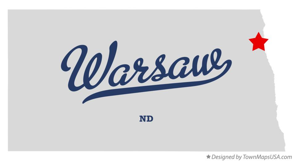 Map of Warsaw North Dakota ND