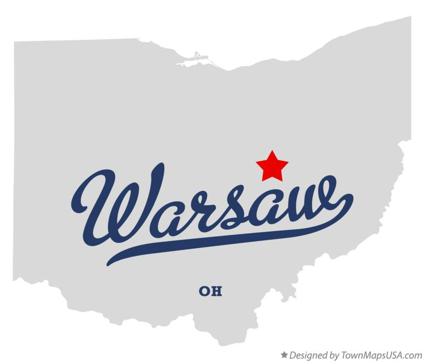 Map of Warsaw Ohio OH