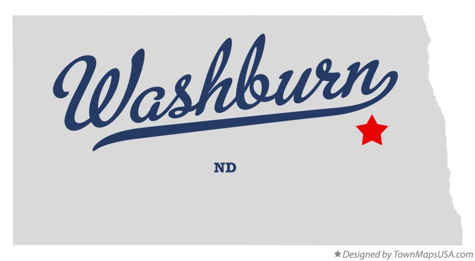 Map of Washburn North Dakota ND