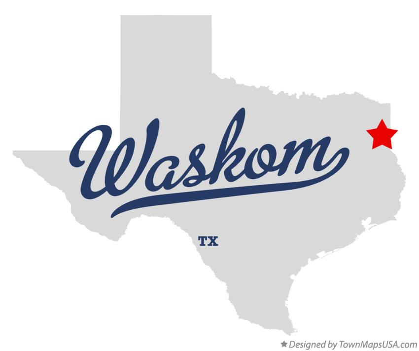 Map of Waskom Texas TX