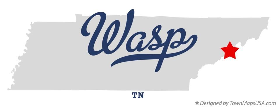 Map of Wasp Tennessee TN