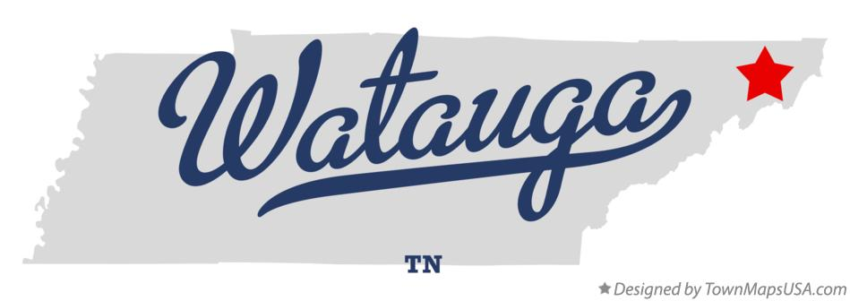 Map of Watauga Tennessee TN