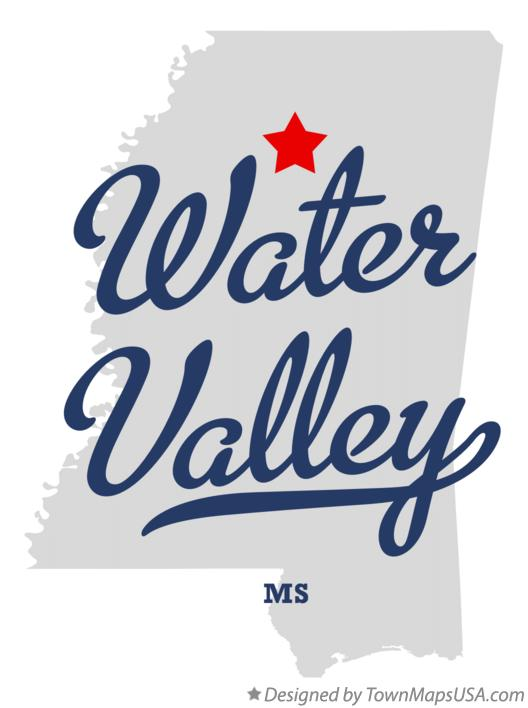 Map of Water Valley Mississippi MS