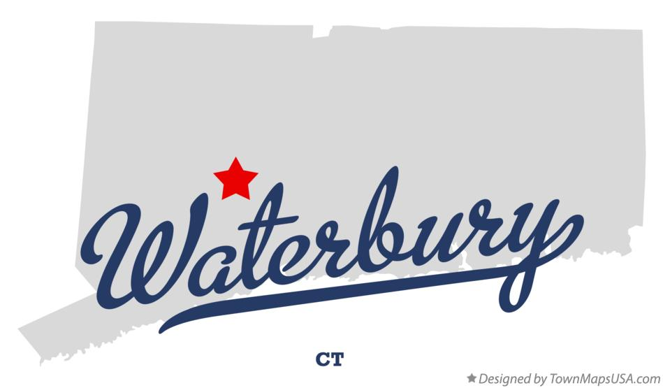 Map of Waterbury, CT, Connecticut