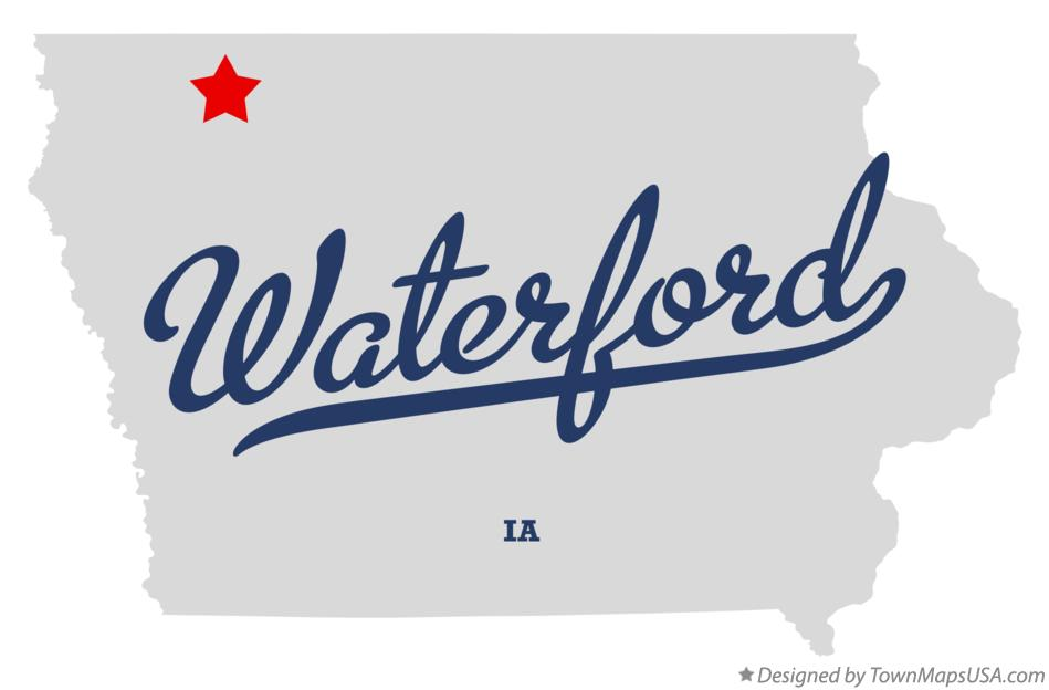 Map of Waterford Iowa IA