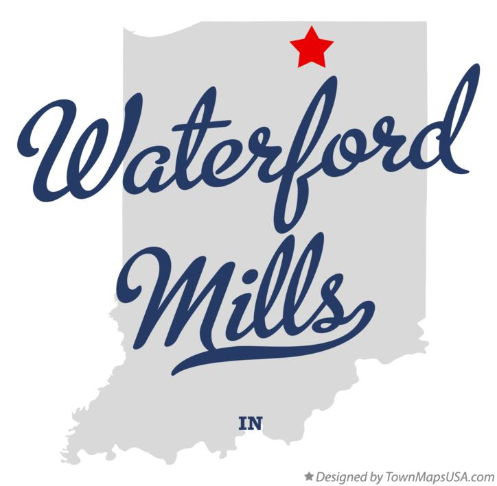 Map of Waterford Mills Indiana IN