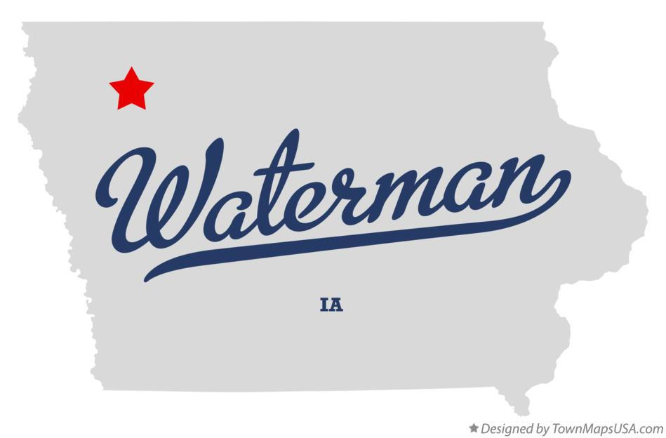 Map of Waterman Iowa IA